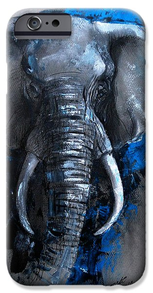Elephants iPhone Cases - Moon river iPhone Case by Arti Chauhan