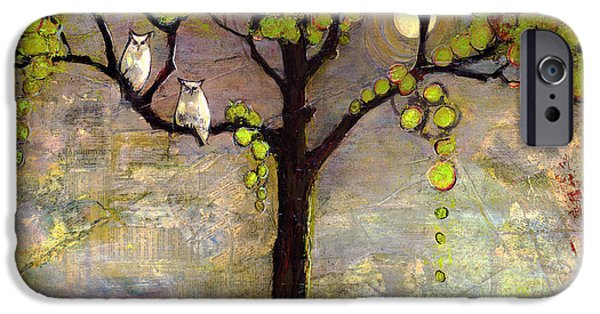Wall Mixed Media iPhone Cases - Moon River Tree Owls Art iPhone Case by Blenda Studio