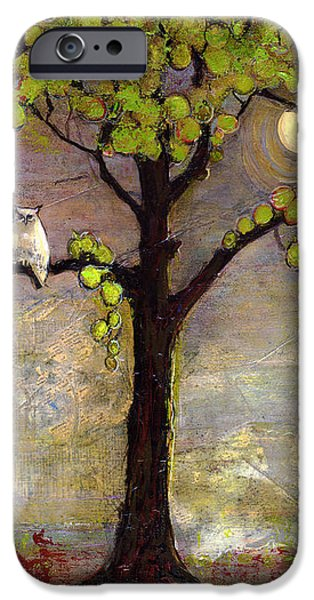 Moon River Tree Owls Art iPhone Case by Blenda Studio