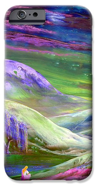 Dream Paintings iPhone Cases - Moon Shadow iPhone Case by Jane Small