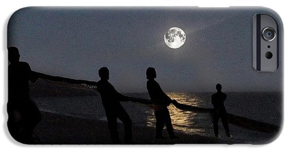 Sea Moon Full Moon Mixed Media iPhone Cases - Moon Shadows  iPhone Case by Eric Kempson