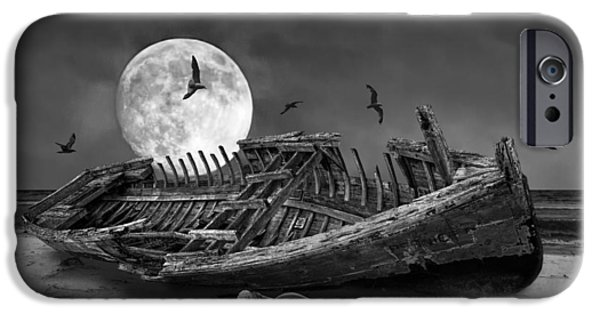 Moonscape iPhone Cases - Moon Shipwreck iPhone Case by Randall Nyhof