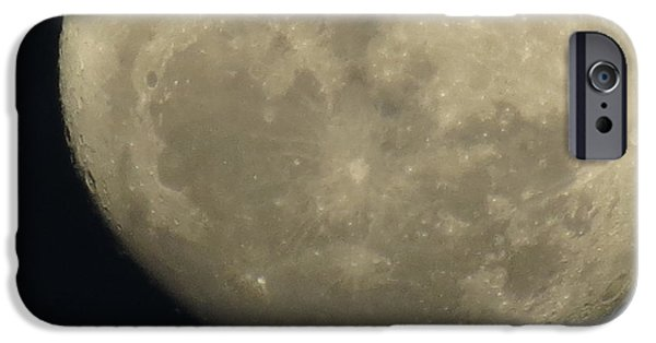 Moon Pyrography iPhone Cases - Moon shot iPhone Case by Teresa Cox