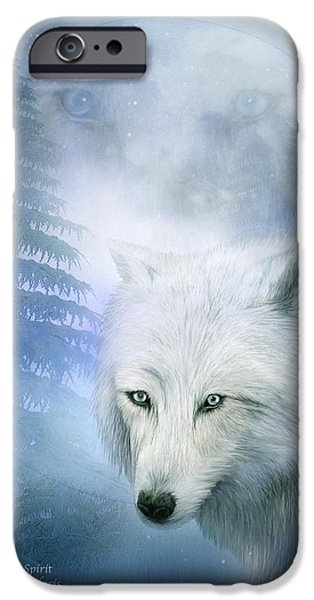 Arctic Wolf Mixed Media iPhone Cases - Moon Spirit 1-White Wolf - Blue  iPhone Case by Carol Cavalaris