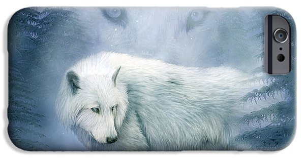 Messenger iPhone Cases - Moon Spirit 2 - White Wolf - Blue iPhone Case by Carol Cavalaris