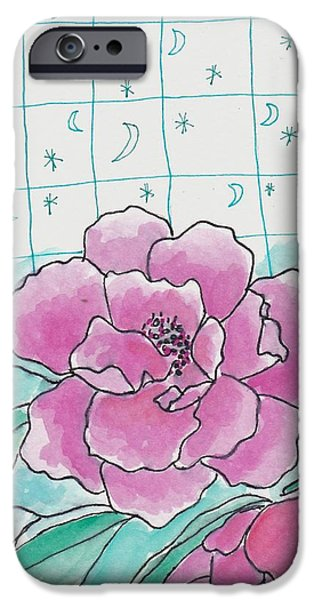Nature Study Paintings iPhone Cases - Moon Star and Flower iPhone Case by Rosalina Bojadschijew