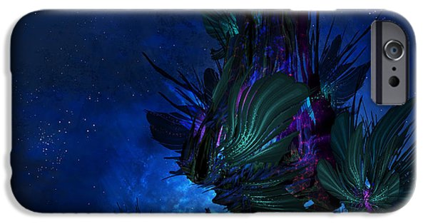 Phantasie Digital Art iPhone Cases - Moon Tree Hills iPhone Case by Cassiopeia Art