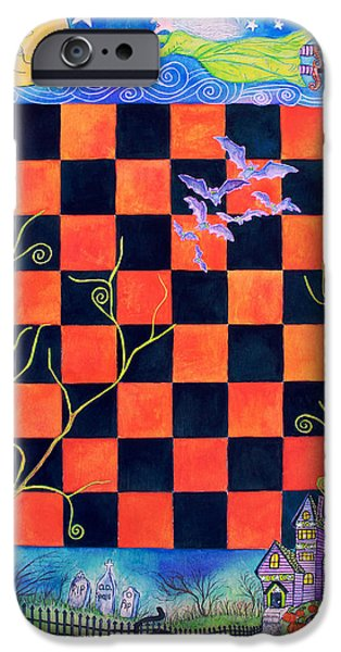 Witch Halloween Cat Wicca Paintings iPhone Cases - Flight of the Moon Witch Checkerboard iPhone Case by Janet Immordino