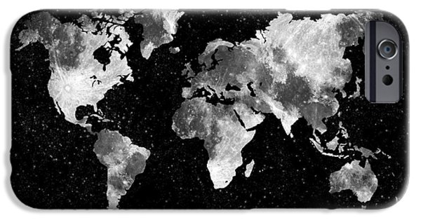 Different Worlds iPhone Cases - Moon World map iPhone Case by Delphimages Photo Creations