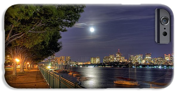 Charles River iPhone Cases - Moonglow Over Boston iPhone Case by Joann Vitali