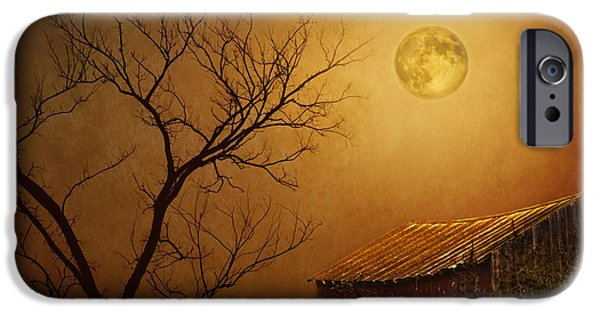 Shed iPhone Cases - Moonglow over Polenz Ranch iPhone Case by Nikolyn McDonald