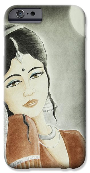 Gray Hair Pastels iPhone Cases - Moonlight Allure iPhone Case by Hema Narayanan