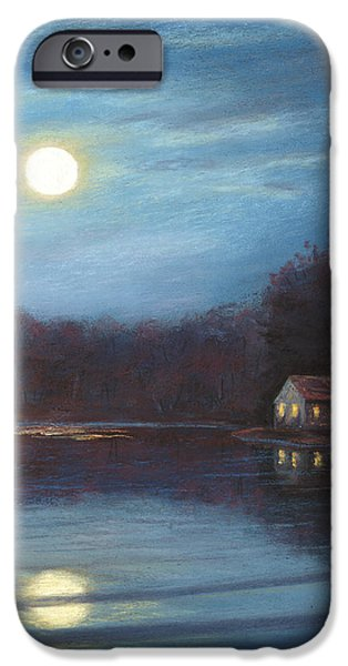 Moon Pastels iPhone Cases - Moonlight at Beaver Lake iPhone Case by Elaine Farmer
