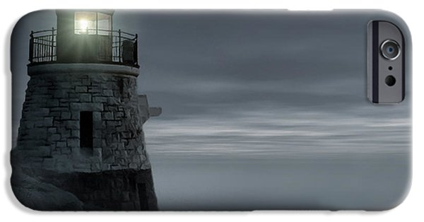New England Lighthouse iPhone Cases - Moonlight at Castle hill iPhone Case by Lourry Legarde