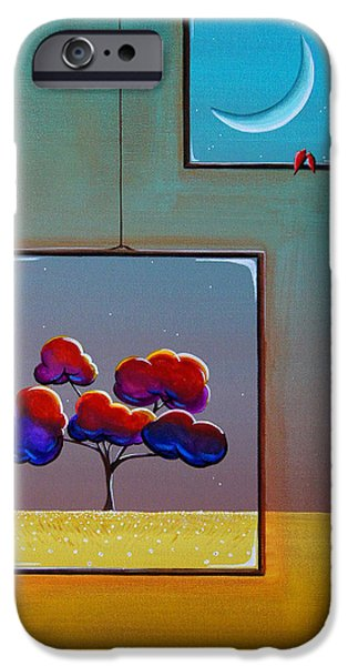 Window Paintings iPhone Cases - Moonlight iPhone Case by Cindy Thornton