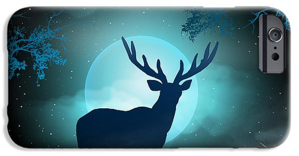 Fog Mist Mixed Media iPhone Cases - Moonlight Elk iPhone Case by Bedros Awak