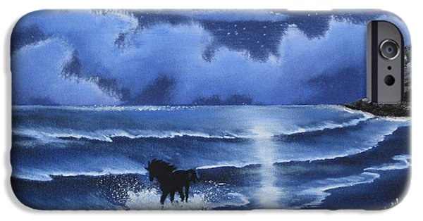 Horse iPhone Cases - Moonlight Gallop iPhone Case by Ambily N