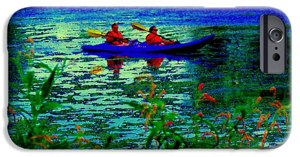 Park Scene Paintings iPhone Cases - Moonlight Kayak Ride Along The Coastline Of The Lachine Canal Quebec Sea Scenes Carole Spandau iPhone Case by Carole Spandau