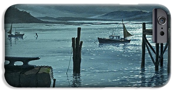 Maine Seascapes iPhone Cases - Moonlight on the Harbor iPhone Case by Paul Krapf