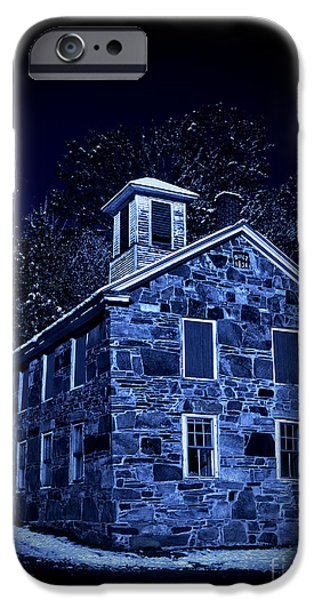 Stone Buildings iPhone Cases - Moonlight on the Old Stone Building  iPhone Case by Edward Fielding