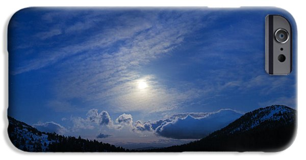 Mount Rose iPhone Cases - Moonlight over Tahoe Meadows iPhone Case by Dianne Phelps