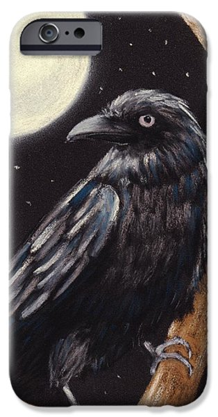 Concept Pastels iPhone Cases - Moonlight Raven iPhone Case by Anastasiya Malakhova