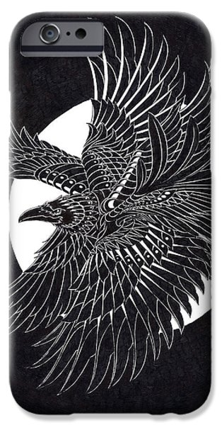 Artwork Drawings iPhone Cases - Moonlight Raven iPhone Case by BioWorkZ