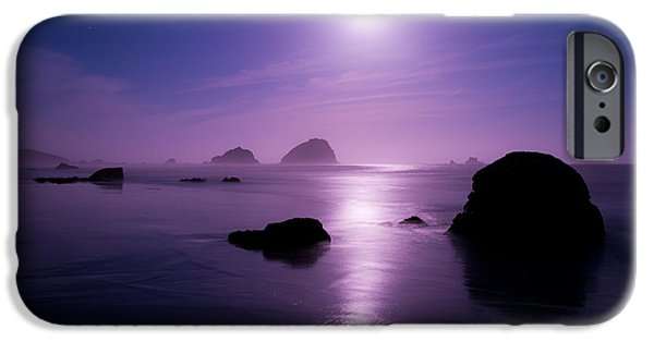 Sea Moon Full Moon Photographs iPhone Cases - Moonlight Reflection iPhone Case by Chad Dutson