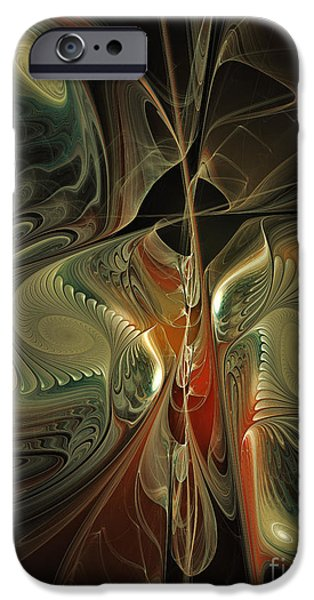 Poetic iPhone Cases - Moonlight Serenade Fractal Art iPhone Case by Karin Kuhlmann