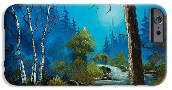 Bob Ross Paintings iPhone Cases - Moonlight Stream iPhone Case by C Steele