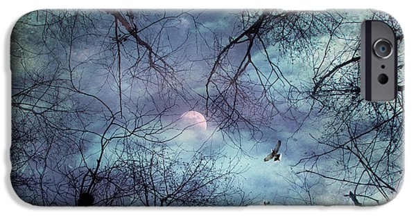 Abstract Landscape Digital Art iPhone Cases - Moonlight iPhone Case by Stylianos Kleanthous
