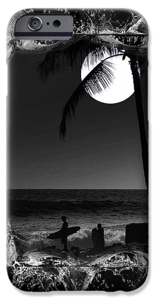 Moonlight surf iPhone Case by Athala Carole Bruckner