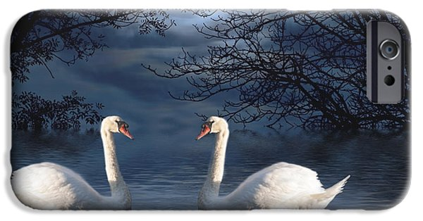 Swans... iPhone Cases - Moonlight Swim iPhone Case by Juli Scalzi