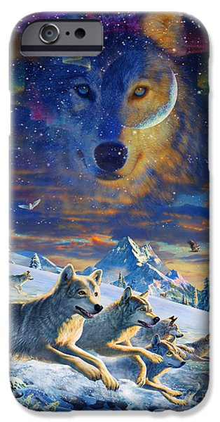 Wolf Digital Art iPhone Cases - Moonlight Wolfpack Variant III iPhone Case by Adrian Chesterman