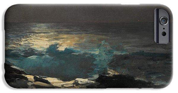 Maine Landscapes Paintings iPhone Cases - Moonlight Wood Island 1894 iPhone Case by Winslow Homer