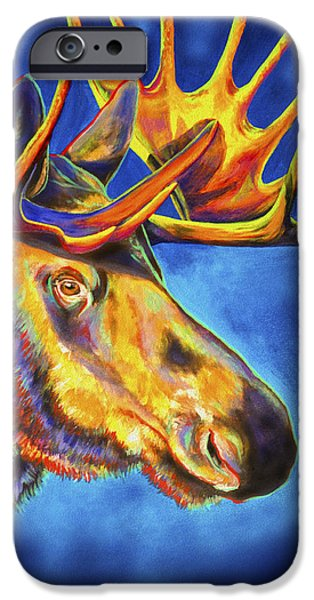 Lime Paintings iPhone Cases - Moose Blues iPhone Case by Teshia Art