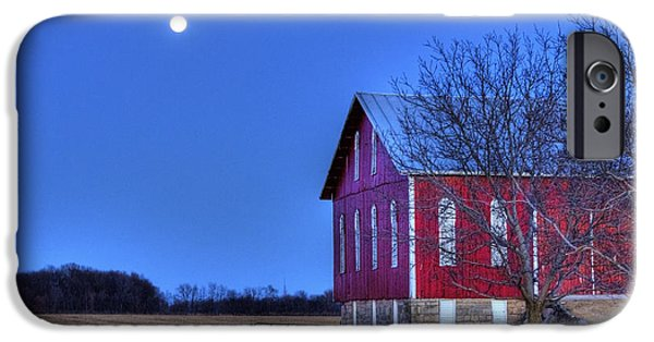 Barns Pyrography iPhone Cases - Moonlit Barn iPhone Case by Mark Six