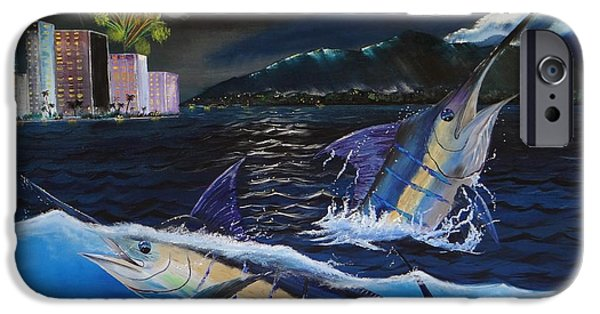 Marlin Azul iPhone Cases - Moonlit Blue iPhone Case by Kevin  Brown