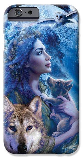 Wolf Digital Art iPhone Cases - Moonlit Brethren  iPhone Case by Andrew Farley
