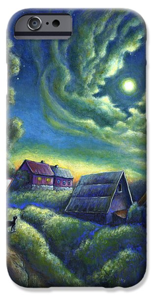 Virtual Paintings iPhone Cases - Moonlit Dreams Come True iPhone Case by Retta Stephenson