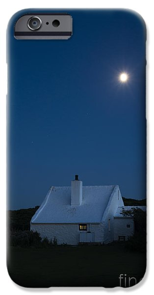 Marine iPhone Cases - Moonlit Farmhouse iPhone Case by Anne Gilbert