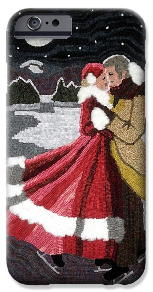 Couple Tapestries - Textiles iPhone Cases - Moonlit Lovers iPhone Case by Brenda Ellis Sauro