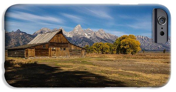 Moonlit Night Photographs iPhone Cases - Moonlit Mormon Barn at Grand Teton NP iPhone Case by Vishwanath Bhat