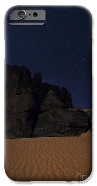 Ursa Minor iPhone Cases - Moonlit Night Of Sahara iPhone Case by Babak Tafreshi