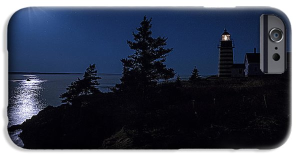 East Quoddy Lighthouse iPhone Cases - MoonLit Panorama West Quoddy Head Lighthouse iPhone Case by Marty Saccone