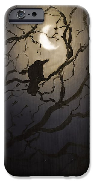 Crows iPhone Cases - Moonlit Perch iPhone Case by Melissa Herrin