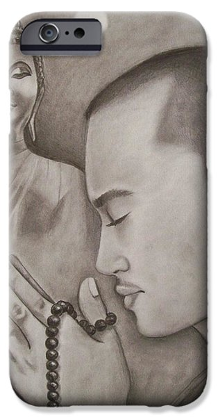 Buddhism Drawings iPhone Cases - Moonlit Prayer iPhone Case by Amber Stanford