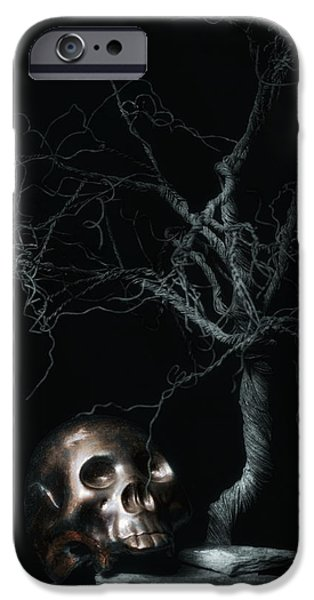 Creepy iPhone Cases - Moonlit Skull and Tree Still Life iPhone Case by Tom Mc Nemar