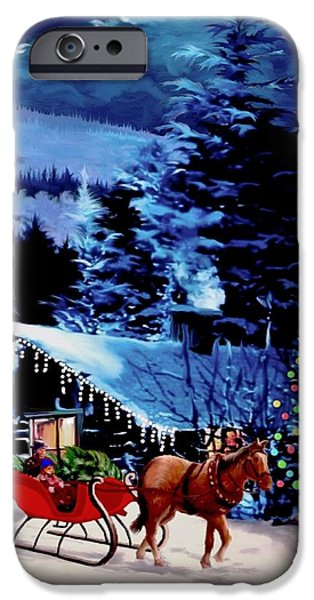 Moonlit Sleigh Ride iPhone Case by Ronald Chambers