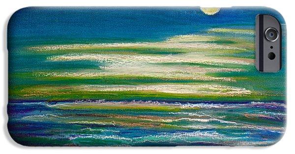 Beach Landscape Pastels iPhone Cases - Moonlit Tide iPhone Case by D Renee Wilson